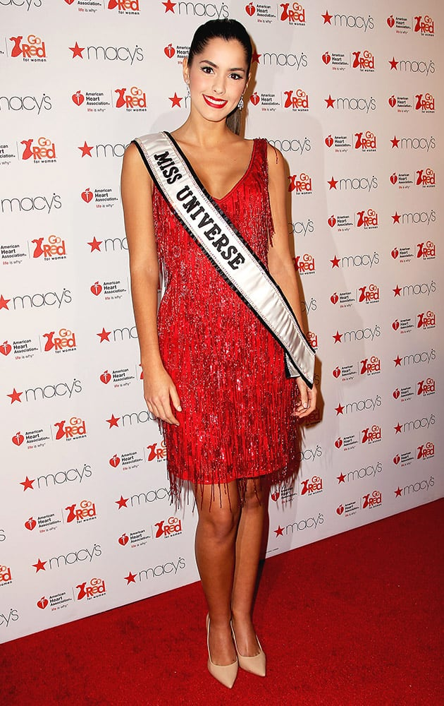 Miss Universe Paulina Vega poses at the Go Red for Women Red Dress Fashion Show, Thursday, at Lincoln Center in New York.
