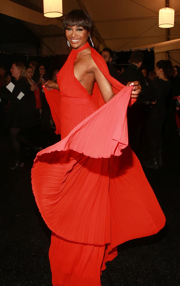 Cynthia Bailey poses backstage at the Go Red For Women Red Dress Collection 2015 presented by Macy's during Mercedes-Benz Fashion Week Fall 2015 at Lincoln Center.