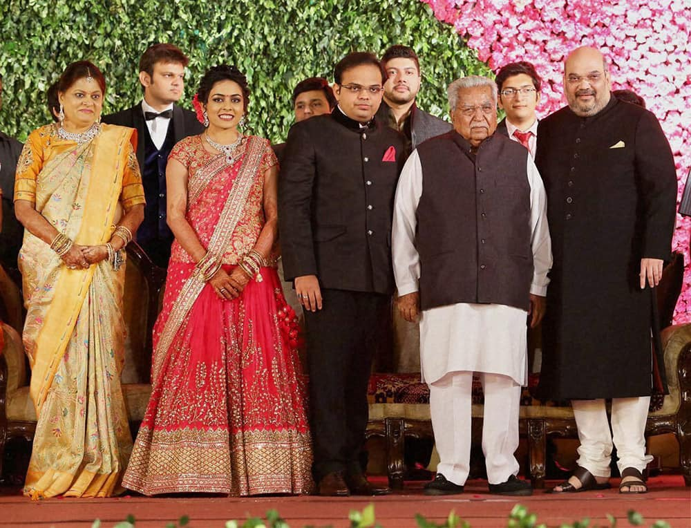Former Gujarat Chief Minister Keshubhai Patel attends the wedding reception of BJP President Amit Shah's son Jay Shah and Rishita Patel in Ahmedabad.