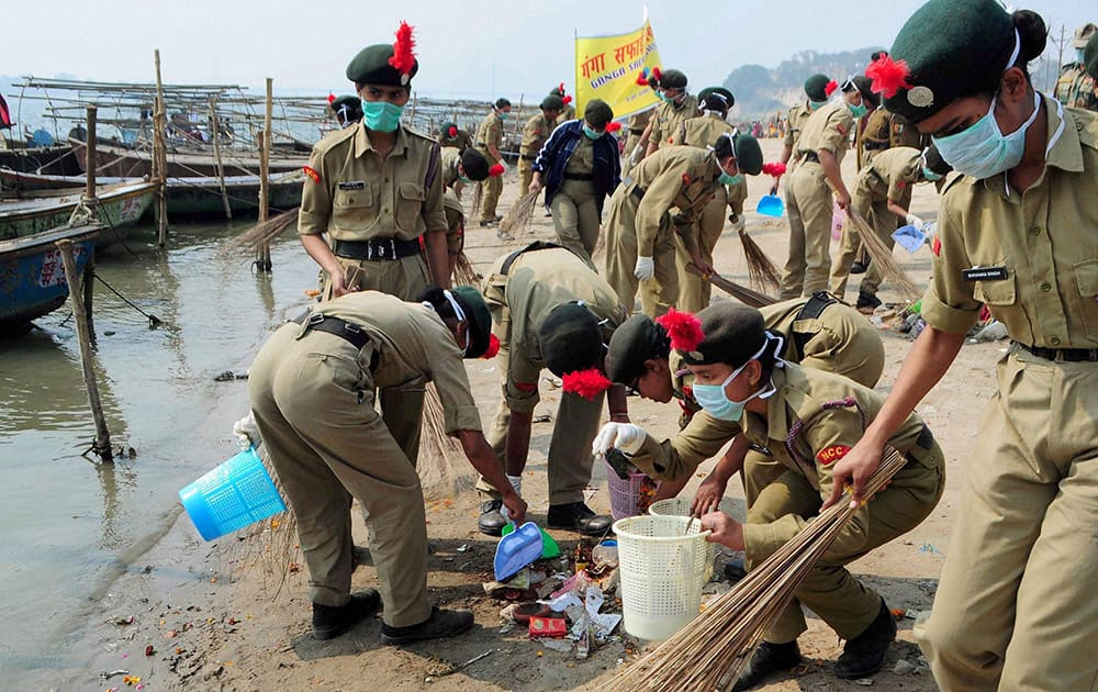 NCC (National Cadet Corps) cadets take part in Swachh Bharat Abhiyan and Namami Gange Project for clean Ganga river at Sangam in Allahabad.