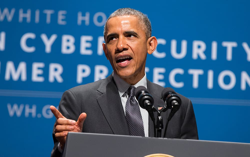 President Barack Obama speaks during a summit on cybersecurity and consumer protection, at Stanford University in Palo Alto, Calif.