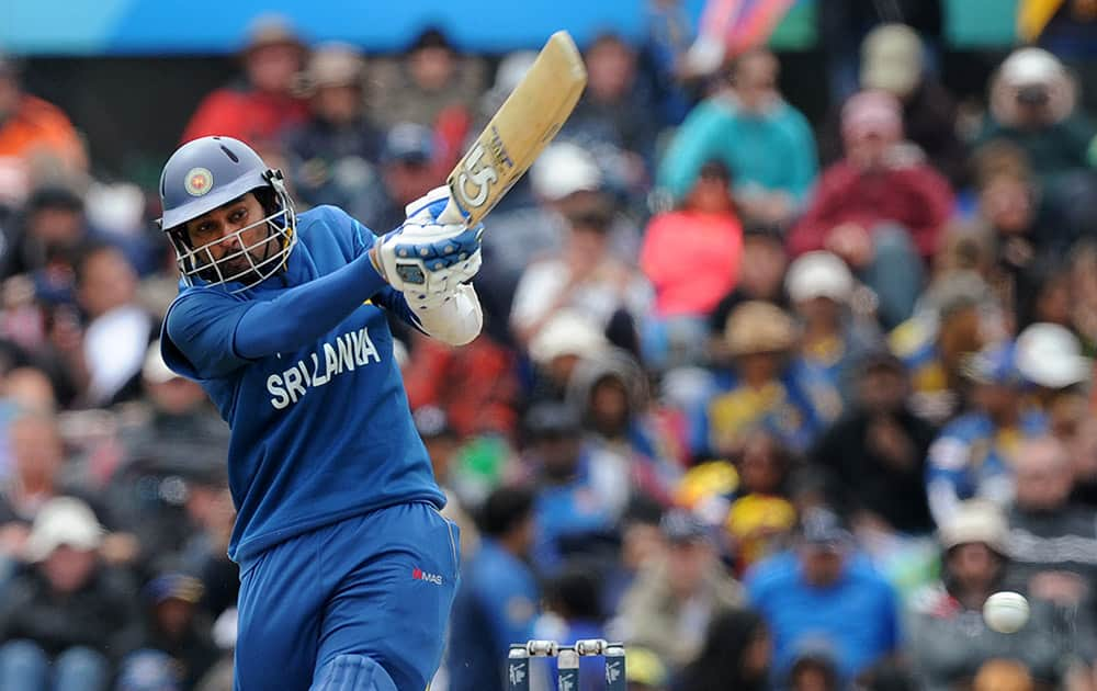 Sri Lanka's Tillakaratne Dilshan pulls the ball against New Zealand during the opening match of the Cricket World Cup at Christchurch, New Zealand.