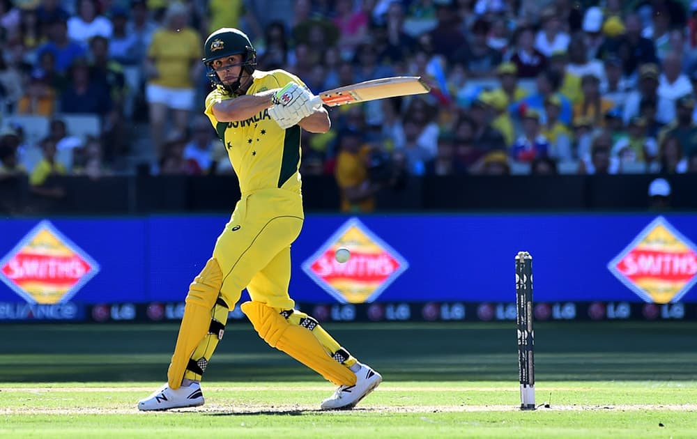 Australia's Mitchell Marsh plays a hook shot during their Cricket World Cup pool A match against England in Melbourne, Australia.