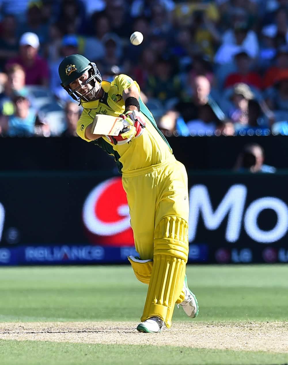 Australia's Glenn Maxwell plays a shot during their Cricket World Cup pool A match against England in Melbourne, Australia.