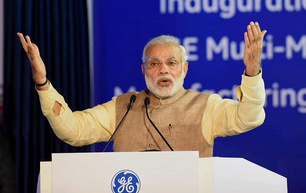 Prime Minister Narendra Modi speaks at the inauguration of General Electrics (GE) multi-modal manufacturing facility at Chakan near Pune.