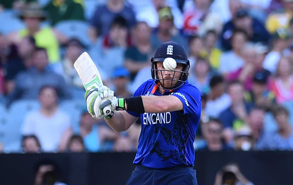 England's Ian Bell keeps his eye on the ball during their Cricket World Cup pool A match against Australia in Melbourne, Australia.