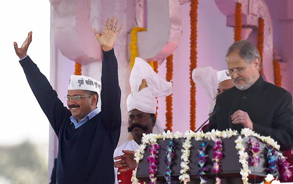 AAP convener Arvind Kejriwal after taking oath as Delhi Chief Minister at Ramlila Maidan in New Delhi.
