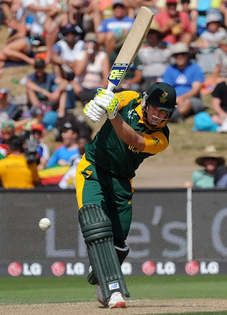 South Africa's David Miller plays a shot against Zimbabwe during their Cricket World Cup pool B match at Hamilton, New Zealand.