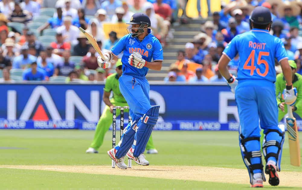 Shikhar Dhawan, watches a shot during the World Cup Pool B match between India and Pakistan in Adelaide, Australia.