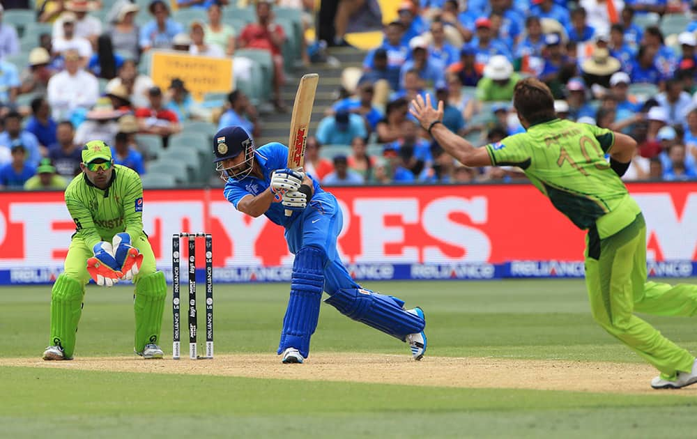 Virat Kohli plays a shot during the World Cup Pool B match against Pakistan in Adelaide, Australia.