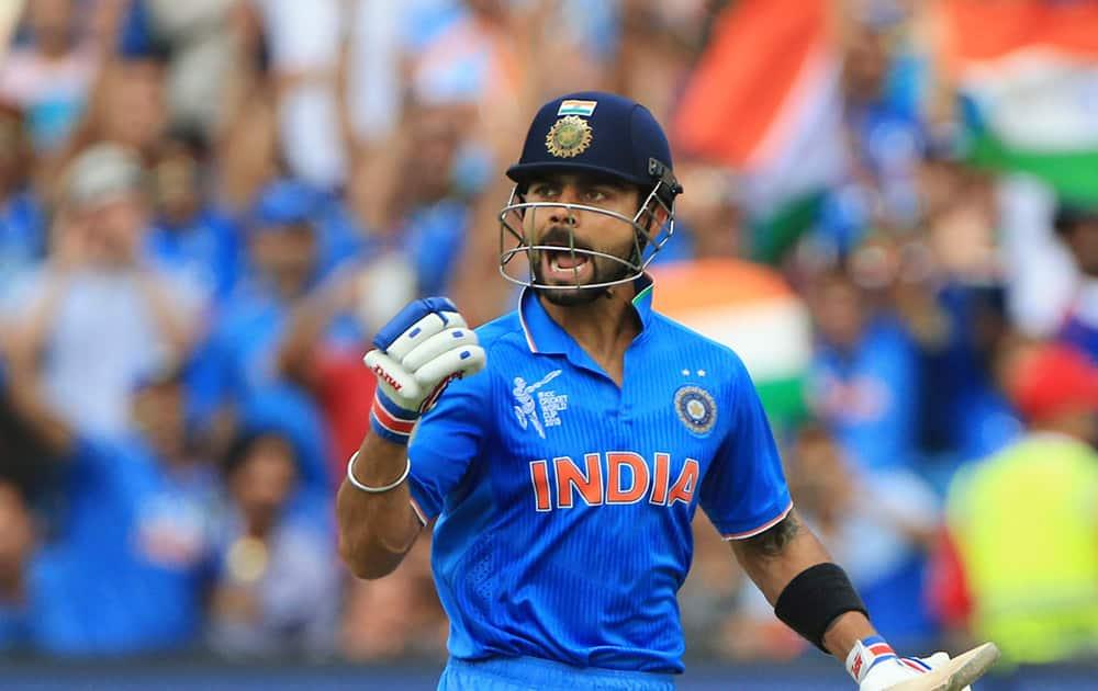 Virat Kohli, celebrates his hundred runs during the World Cup Pool B match against Pakistan in Adelaide, Australia.