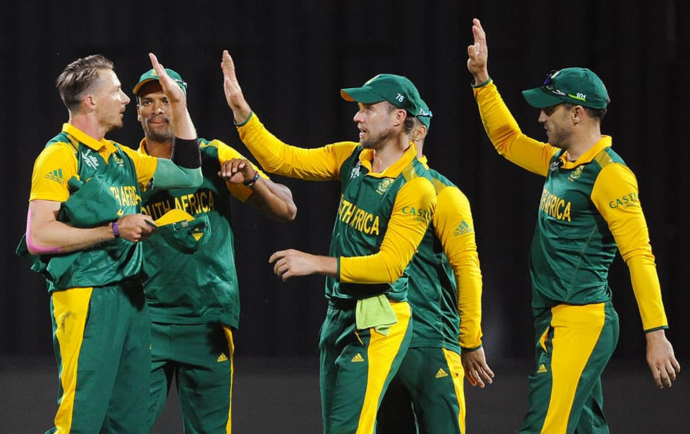 South Africa's Dale Steyn, celebrates with teammates after dismissing Zimbabwe's Craig Ervine for 13 runs during their Cricket World Cup pool B match at Hamilton, New Zealand.