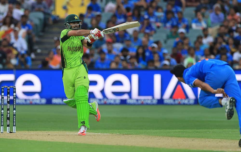 Pakistan's Ahmed Shehzad plays a shot during the World Cup Pool B match against India in Adelaide.