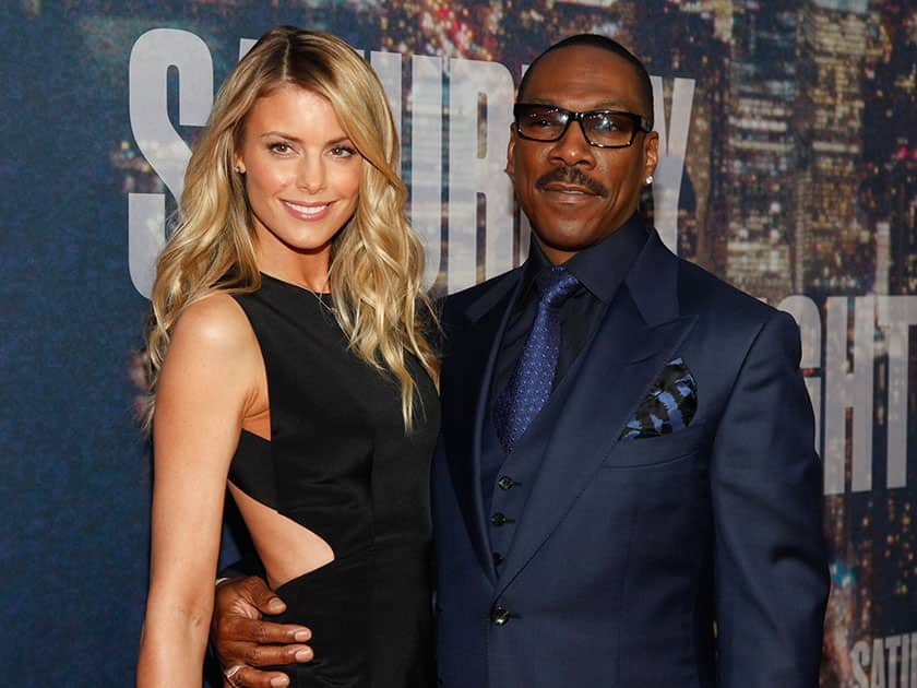 Paige Butcher and Eddie Murphy attend the SNL 40th Anniversary Special at Rockefeller Plaza, in New York