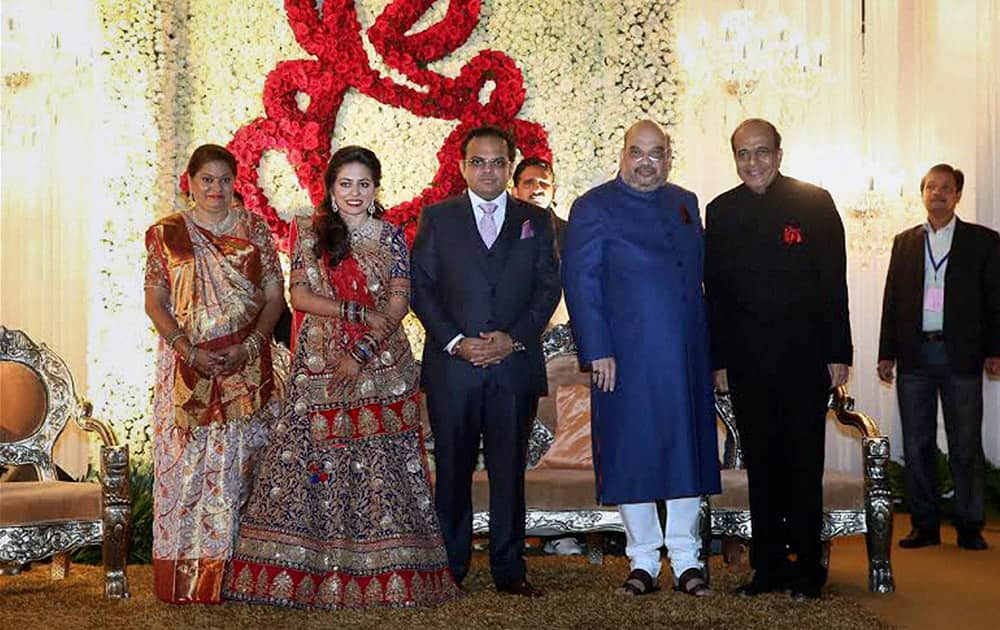 TMC leader Dinesh Trivedi at the wedding reception of BJP President Amit Shah's son Jay and Rishita in New Delhi.