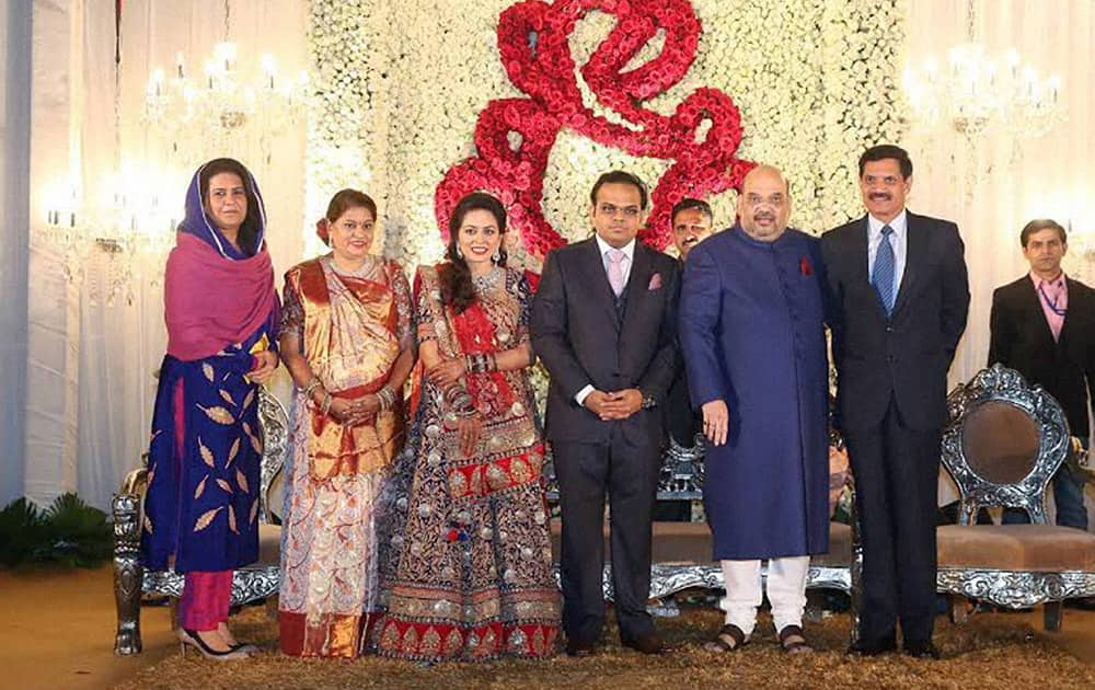 BJP National President Amit shah with Army chief Dalbir Singh Suhag and his son Jay and daughter in law Rishita during their wedding reception in New Delhi.