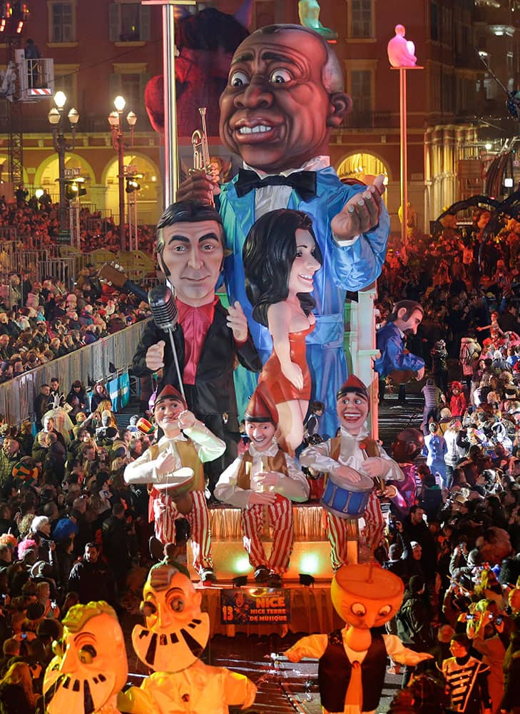 A float depicting American jazz trumpeter Louis Armstrong, parades during 131st Nice carnival parade, in Nice, southeastern France.