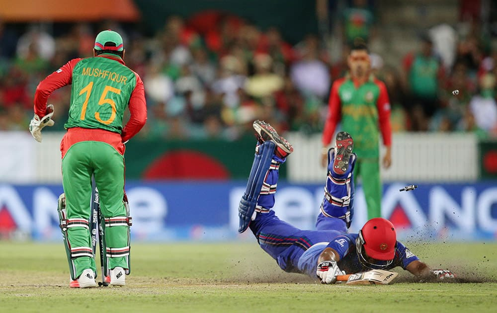 Afghanistan's Samiullah Shenwari dives as he unsuccessfully attempts to make his ground after he was run out by Bangladesh's wicketkeeper Mushfiqur Rahim during their Cricket World Cup Pool A match in Canberra, Australia.