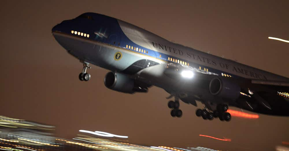Air Force One takes off at O'Hare International Airport in Chicago.