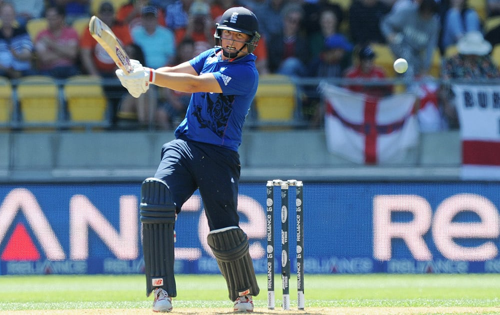 England's Gary Balance plays a shot to New Zealand fielder Kane Williamson (not pictured) to be caught out for 10 runs during their Cricket World Cup match in Wellington, New Zealand.