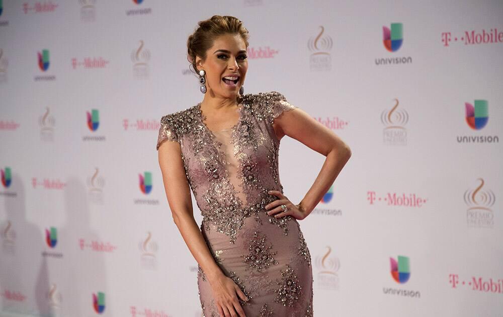 Galilea Montijo walks the red carpet before the Premio Lo Nuestro awards show in Miami.