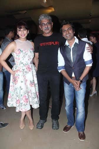 The talented trio of #Badlapur @humasqureshi #sriramraghavan & @Nawazuddin_S at the premiere of the film...  - twitter