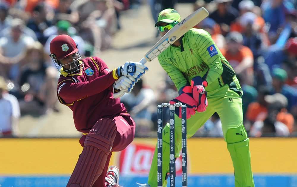 West Indies batsman Denesh Ramdin plays a shot during their Cricket World Cup match against Pakistan in Christchurch, New Zealand.