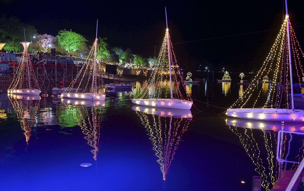 A scene of decorated Upper Lake during Jheel Mahotsav organised by Department of Sports and Youth Welfare in Bhopal.