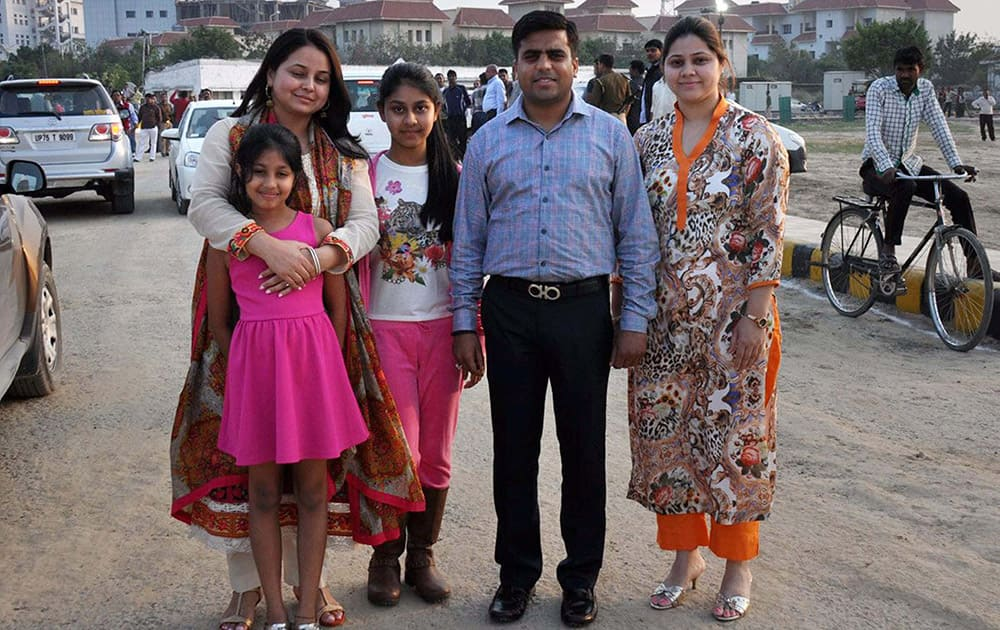 Tej Pratap Singh Yadav, grand-nephew of SP supremo Mulayam Singh Yadav, with other relatives a day before his Tilak ceremony in Saifai.