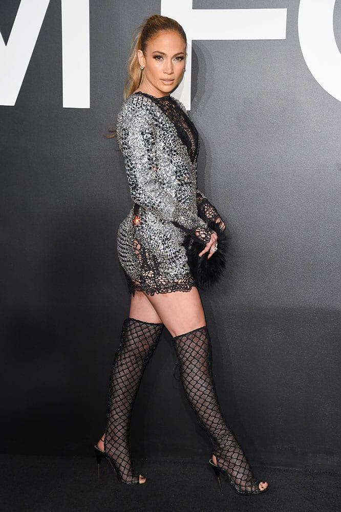 Jennifer Lopez arrives at the Tom Ford Autumn/Winter 2015 Womenswear Presentation at Milk Studios.