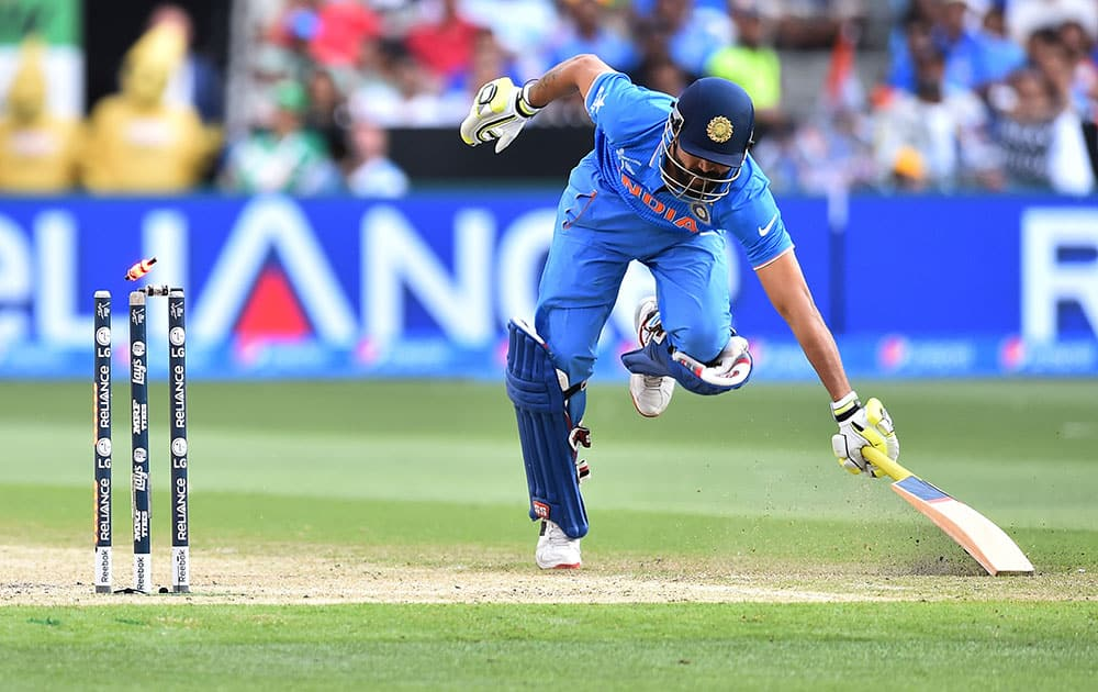 India's Ravindra Jadeja is run out during their Cricket World Cup pool B match against South Africa in Melbourne, Australia.
