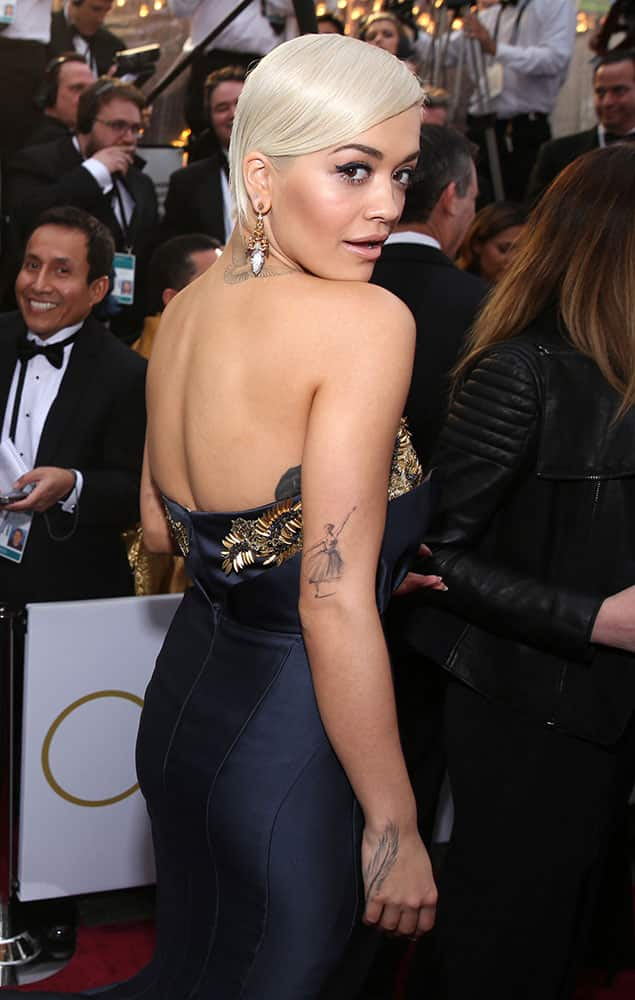 Rita Ora arrives at the Oscars, at the Dolby Theatre in Los Angeles.