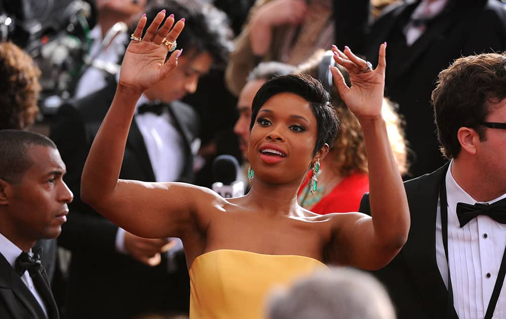 Jennifer Hudson arrives at the Oscars, at the Dolby Theatre in Los Angeles.