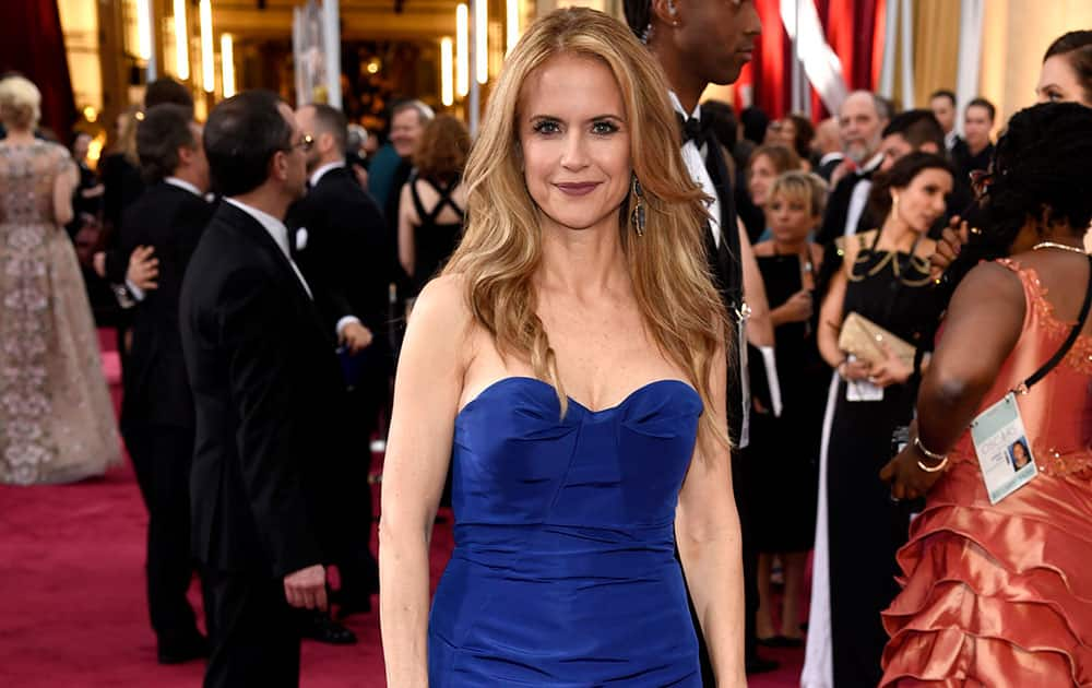 Kelly Preston arrives at the Oscars, at the Dolby Theatre in Los Angeles.