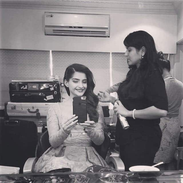 Sonam Kapoor:- Look who's back!!!! namratasoni spraying lorealparisin wild stylers techni art and #elnett -twitter
