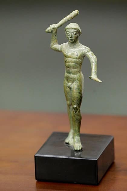 An Etruscan bronze statuette depicting the Greek hero Herakles is displayed at a ceremony to return the statue as well as an 18th-century work attributed to painter Giovanni Battista Tiepolo, 'The Holy Trinity appearing to Saint Clement,' to the Italian government, at the United States Attorney's Office for the Southern District of New York.