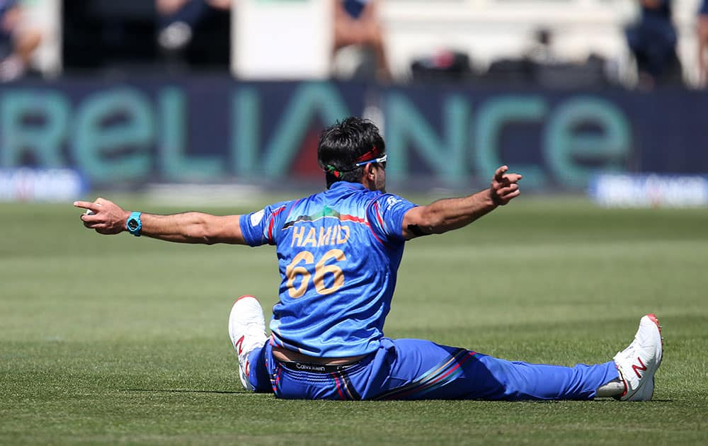 Afghanistan's Hamid Hassan reacts after taking a catch to dismiss Scotland's Josh Davey during their Cricket World Cup Pool A match in Dunedin, New Zealand.