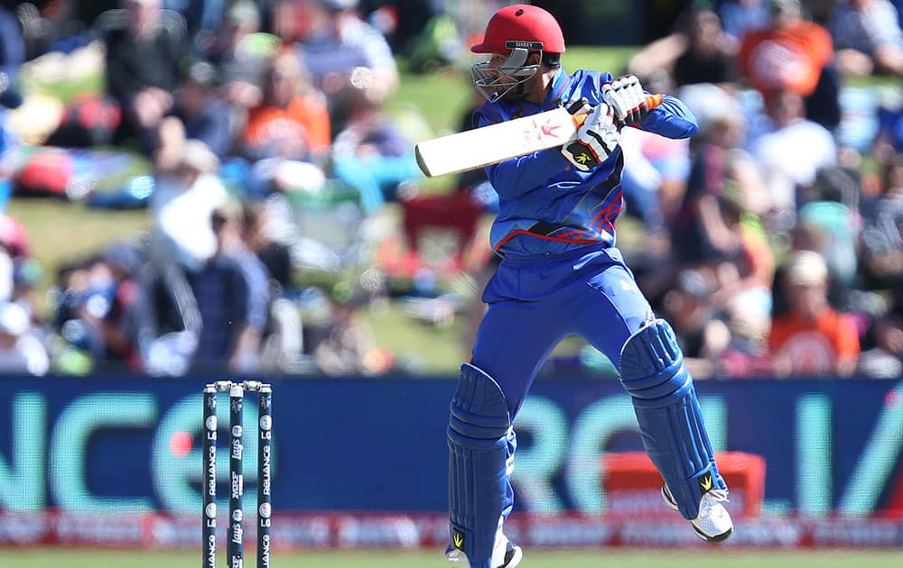 Afghanistan's Ahmadi Javed bats during their Cricket World Cup Pool A match against Scotalnd in Dunedin, New Zealand.