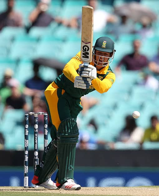 South Africa's Quinton De Kock bats during their Cricket World Cup Pool B match against the West Indies in Sydney.