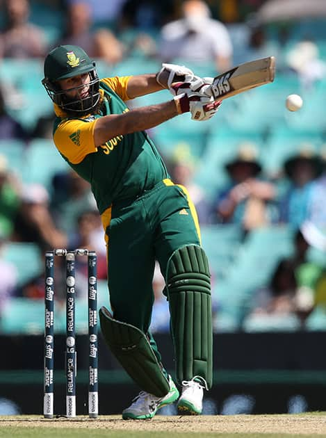 South Africa's Hashim Amla plays a shot during their Cricket World Cup Pool B match against the West Indies in Sydney.