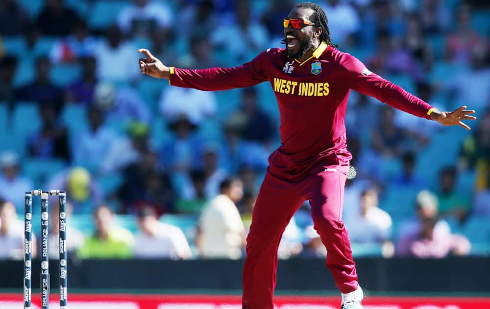 West Indies Chris Gayle celebrates after taking the wicket of South Africa's Hashim Amla during their Cricket World Cup Pool B match in Sydney, Australia.