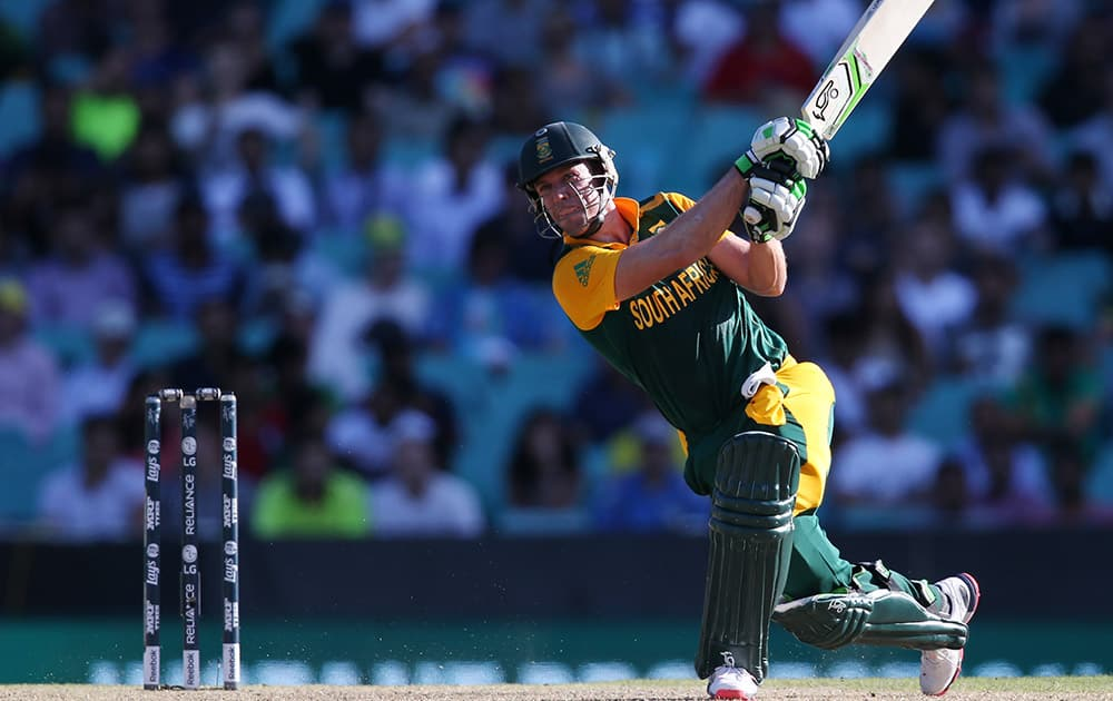 South Africa's AB De Villiers hits the ball to the boundary during their Cricket World Cup Pool B match against the West Indies in Sydney, Australia.
