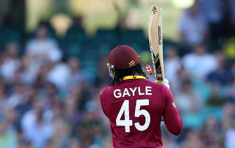 West Indies Chris Gayle is bowled for three runs during their Cricket World Cup Pool B match South Africa in Sydney, Australia.