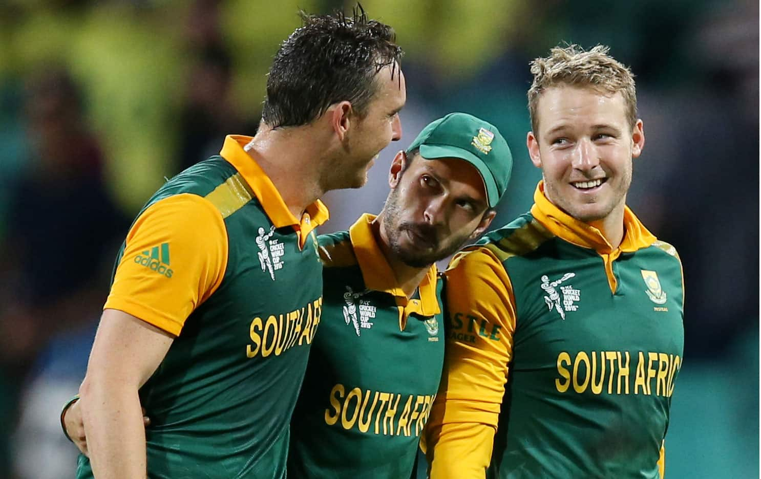 South African players from, Kyle Abbott, Farhaan Behardien, and David Miller celebrate after they defeated the West Indies by 257 runs in their Cricket World Cup Pool B match in Sydney, Australia.