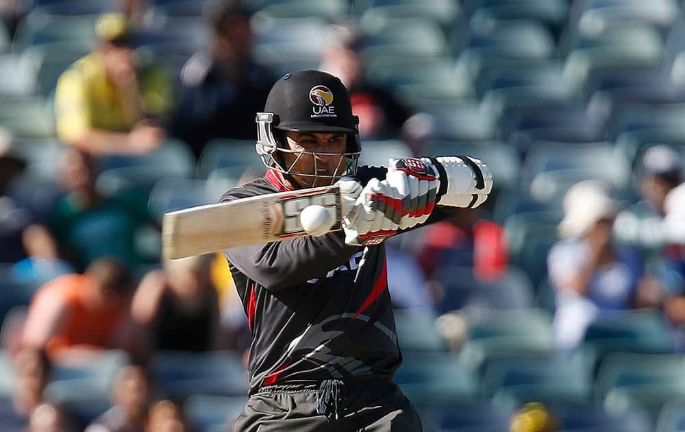 United Arab Emirates batsman Shaiman Anwar plays a shot during their Cricket World Cup Pool B match against India in Perth, Australia.