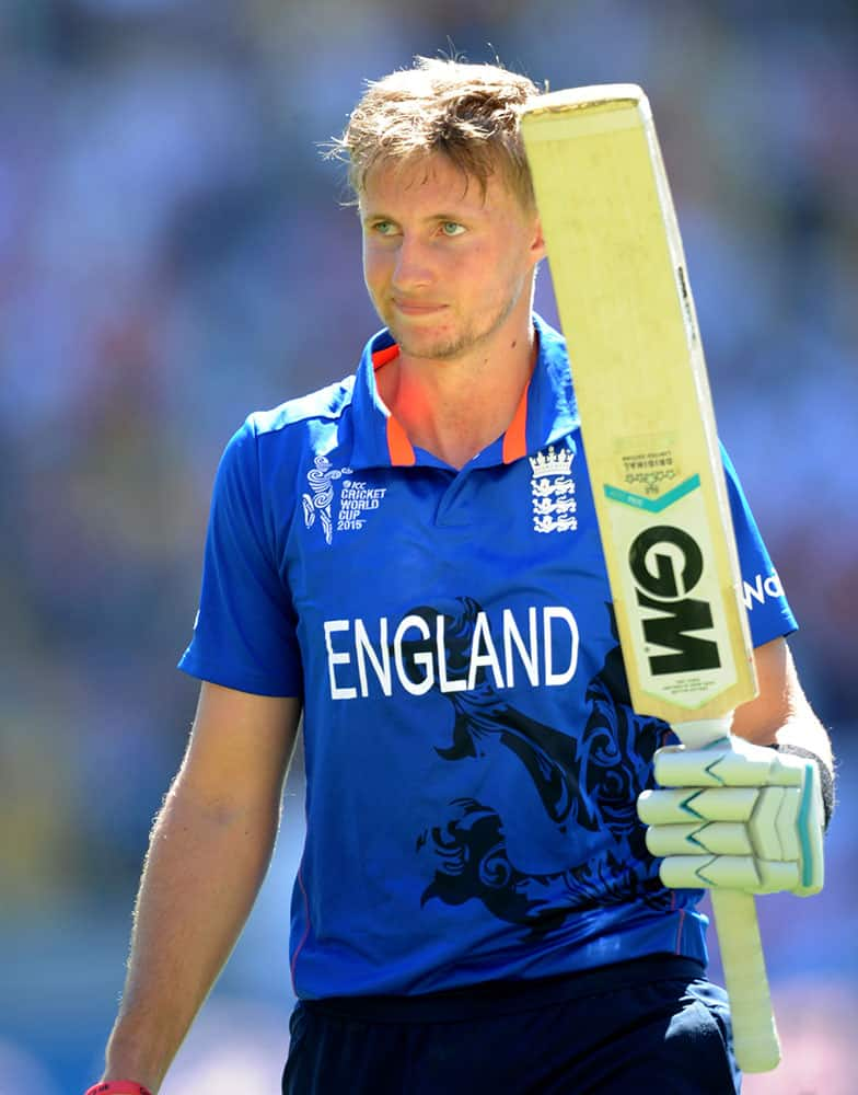 England's Joe Root waves to the crowd as he leaves the field after he was dismissed for 121 runs during their Cricket World Cup match in Wellington, New Zealand.