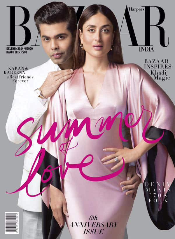 Kareena and Karan Johar grace Harper's Bazaar India sixth anniversary issue.  -twitter