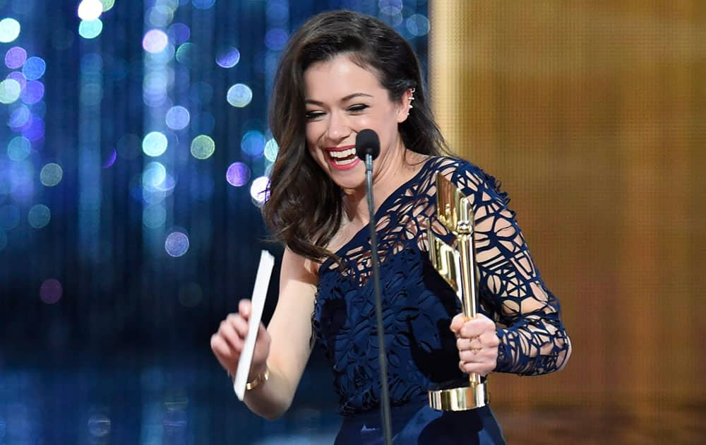 Tatiana Maslany holds her award for best actress in a drama at the Canadian Screen Awards.