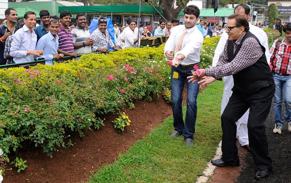 Dharmendra (R) during the Attilia Sprinter Cup race at Mahalaxmi Race course in Mumbai. -DNA