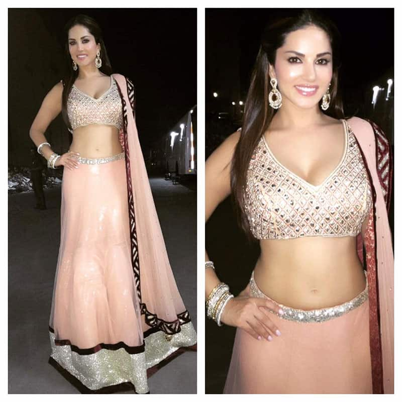 Sunny Leone :- Thank you Archana Kocher for my lovely gaghra/choli for Tulsi Kumar and Hitesh wedding reception! Magical night :) -twitter